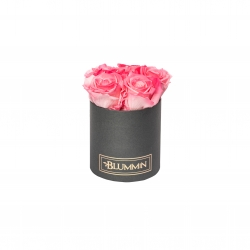 MIDI DARK GREY BOX WITH CANDY PINK ROSES