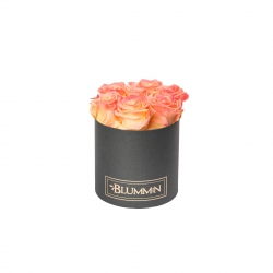 SMALL DARK GREY BOX WITH APRICOT ROSES
