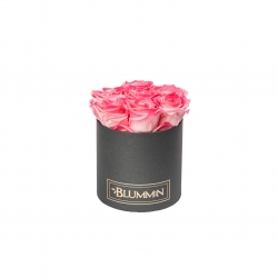 SMALL DARK GREY BOX WITH CANDY PINK ROSES