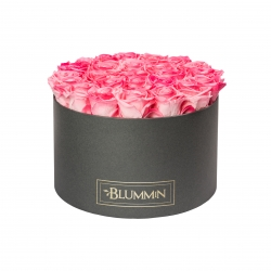 EXTRA LARGE DARK GREY BOX WITH CANDY PINK ROSES