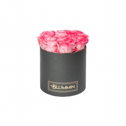 MEDIUM DARK GREY BOX WITH CANDY PINK ROSES