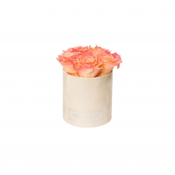 MIDI NUDE VELVET BOX WITH APRICOT ROSES