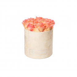 MEDIUM NUDE VELVET BOX WITH APRICOT ROSES