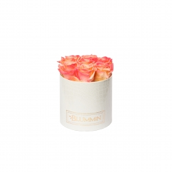 SMALL WHITE LEATHER BOX WITH APRICOT ROSES