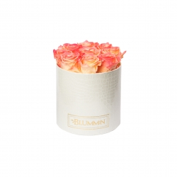 MEDIUM WHITE LEATHER BOX WITH APRICOT ROSES