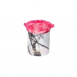 MIDI WHITE MARBLE BOX WITH CANDY PINK ROSES