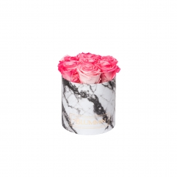 SMALL WHITE MARBLE BOX WITH CANDY PINK ROSES