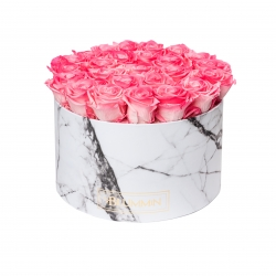 EXTRA LARGE WHITE MARBLE BOX WITH CANDY PINK ROSES