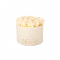 LARGE BLUMMIN CREAM WHITE BOX WITH CHAMPAGNE ROSES