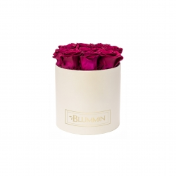 MEDIUM CLASSIC CREAM BOX WITH CHERRY LADY ROSES