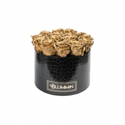 LARGE BLUMMiN - BLACK LEATHER BOX WITH GOLDEN ROSES