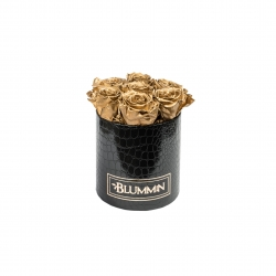 SMALL BLUMMiN - BLACK LEATHER BOX WITH GOLEN ROSES