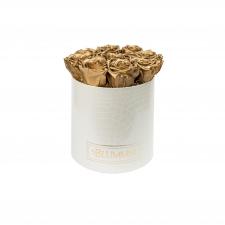MEDIUM BLUMMiN - WHITE LEATHER BOX WITH GOLEN ROSES
