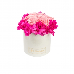 MEDIUM WHITE LEATHER BOX WITH FUCHIA HORTENSIA AND 7 CANDY PINK ROSES