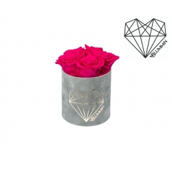 MIDI LOVE - LIGHT GREY VELVET BOX WITH HOT PINK ROSES