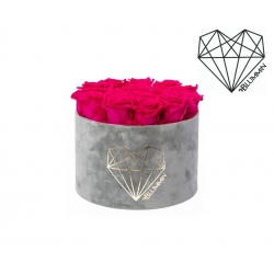 LARGE LOVE - LIGHT GREY VELVET BOX WITH HOT PINK ROSES