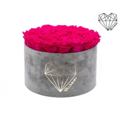 EXTRA LARGE LOVE LIGHT GREY VELVET BOX WITH HOT PINK ROSES