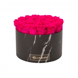 XL BLUMMIN - BLACK MARBLE BOX WITH HOT PINK ROSES