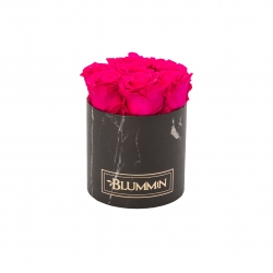 SMALL BLUMMiN - BLACK MARBLE BOX WITH HOT PINK ROSES