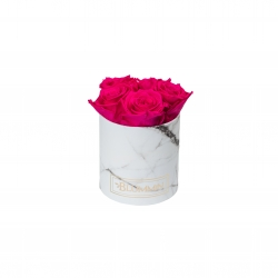 MIDI WHITE MARBLE BOX WITH HOT PINK ROSES