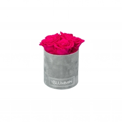 MIDI BLUMMiN LIGHT GREY VELVET BOX WITH HOT PINK ROSES