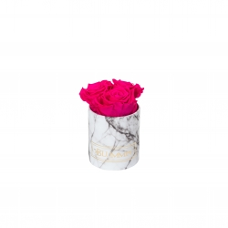 XS BLUMMIN - WHITE MARBLE BOX WITH HOT PINK ROSES