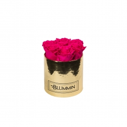 SMALL BLUMMiN GOLDEN BOX WITH HOT PINK ROSES
