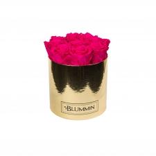 MEDIUM BLUMMiN GOLDEN BOX WITH HOT PINK ROSES