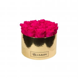 LARGE BLUMMiN GOLDEN BOX WITH HOT PINK ROSES