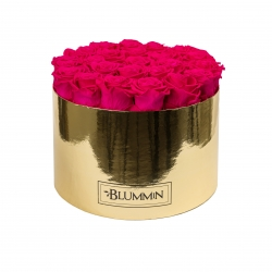 EXTRA LARGE BLUMMIN GOLDEN BOX WITH HOT PINK ROSES