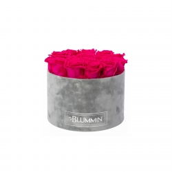 LARGE BLUMMIN LIGHT GREY VELVET BOX HOT PINK ROSES
