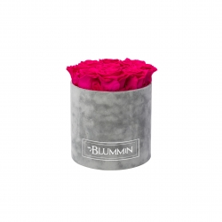 MEDIUM VELVET LIGHT GREY BOX WITH HOT PINK ROSES