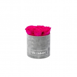 SMALL VELVET LIGHT GREY BOX WITH HOT PINK ROSES