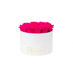 LARGE CLASSIC WHITE BOX WITH HOT PINK ROSES