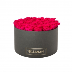 EXTRA LARGE CLASSIC DARK GREY BOX WITH HOT PINK ROSES