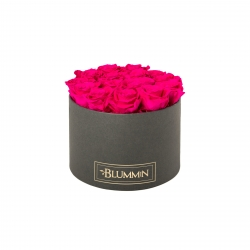 LARGE BLUMMIN DARK GREY BOX WITH HOT PINK ROSES