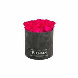 MEDIUM VELVET DARK GREY BOX WITH HOT PINK ROSES