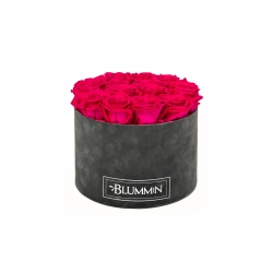 LARGE BLUMMIN DARK GREY VELVET BOX WITH HOT PINK ROSES
