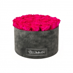 EXTRA LARGE VELVET DARK GREY BOX WITH HOT PINK ROSES