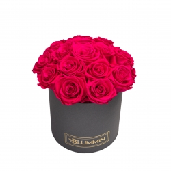 BOUQUET WITH 15 ROSES - MEDIUM BLUMMIN DARK GREY BOX WITH HOT PINK ROSES
