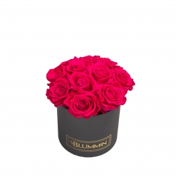 BOUQUET WITH 11 ROSES - SMALL BLUMMiN DARK GREY BOX WITH HOT PINK ROSES