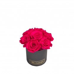 BOUQUET WITH 7 ROSES - MIDI DARK GREY BOX WITH HOT PINK ROSES