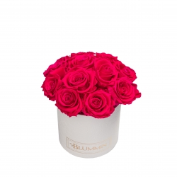 BOUQUET WITH 11 ROSES - SMALL BLUMMiN WHITE LEATHER BOX WITH HOT PINK ROSES