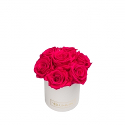 BOUQUET WITH 7 ROSES - MIDI WHITE LEATHER BOX WITH HOT PINK ROSES