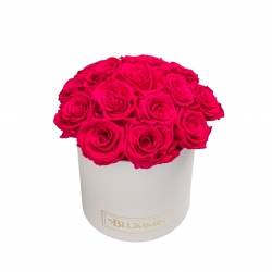 BOUQUET WITH 15 ROSES - MEDIUM BLUMMIN WHITE LEATHER BOX WITH HOT PINK ROSES