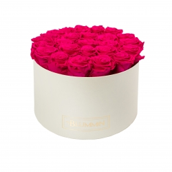 EXTRA LARGE BLUMMiN CREAMY BOX WITH HOT PINK ROSES