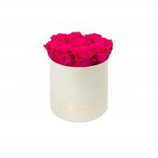 MEDIUM CREAMY BOX WITH HOT PINK ROSES