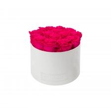LARGE BLUMMIN WHITE VELVET BOX WITH HOT PINK ROSES