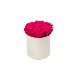 SMALL BLUMMIN CREAMY BOX WITH HOT PINK ROSES