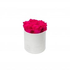 SMALL BLUMMIN WHITE VELVET BOX WITH HOT PINK ROSES